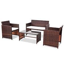 Goplus Rattan Sofa Furniture <b>Set</b> Outdoor <b>Garden</b> Patio <b>4</b>-Piece