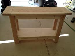 unfinished custom diy wood outdoor console table with storage for small spaces ideas