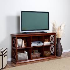 Small Modern Flat Screen TV Console Table With Bookshelf And Rattan Basket  Storage For Saving Small Spaces Living Room Design Ideas