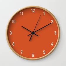 numbers clock orange wall clock by