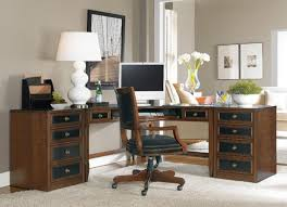 l shaped home office desk. Interesting Letter L Shaped Home Office Desks Which Has Big White Desk Lamp And Flowers Decoration Inside Glass Vase Also Small Bowl Plant Jar M