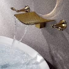 modern ti pvd gold waterfall wall mounted bathroom bath sink faucet basin tap generic