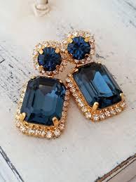 navy blue chandelier earrings drop earrings dangle earrings bridal earrings deep blue swarovski earrings gold or silver