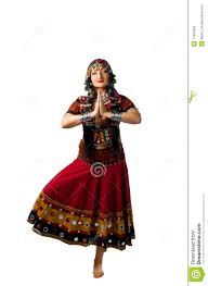 woman stand in yoga pose indian costume