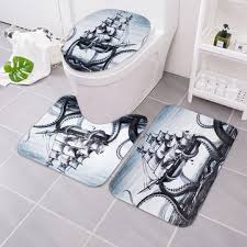3pcs octopus bathroom rug sailing anti slip bath carpet toilet seat lid rug floor mat