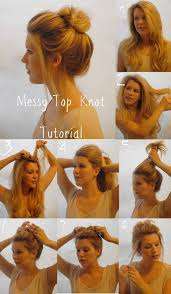 messy top knot hairstyle tutorial