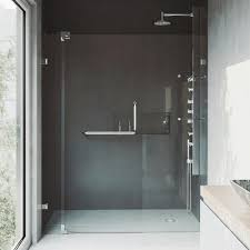 adjule frameless pivot shower door in chrome