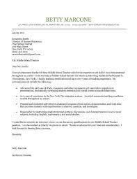 Teaching Cover Letter Example Middle School Teacher Cover Letter