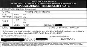faa form 8130 7 es vans rv 14a first flight prep faa inspection i can fly