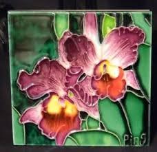 image is loading ceramic art tile 4x4 034 purple orchid multi  on purple orchid wall art with ceramic art tile 4x4 purple orchid multi color hand painted wall