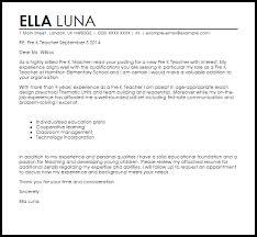 Pre K Teacher Cover Letter Sample Bunch Ideas Of Cover Letter For