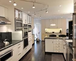 lighting tracks for kitchens. example of a trendy dark wood floor eatin kitchen design in other with stainless lighting tracks for kitchens