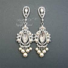 fascinating pearl and rhinestone chandelier earrings vintage pearl chandelier bridal earrings