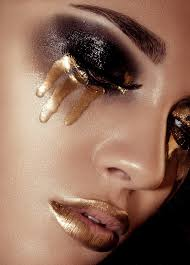 stefkapavlova fantasy makeup gold lips and tears