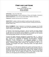 Standard Resume Template Download Federal Resume Free Download