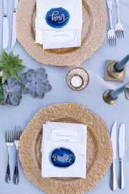 blue agate slice place cards paired with gorgeous detailed gold charger