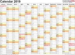 Free Excell Calendar Printable Calendar 2019 Excel Printable Calendar 2020