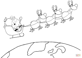 Black And White Coloring Page Outline Of A Reindeer Flying Santa ...