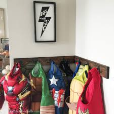 Superhero Coat Rack DIY Superhero Dressup Corner Beckham Belle 45