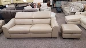 furniture village elixir pebble leather 3 seater sofa matching storage footstool