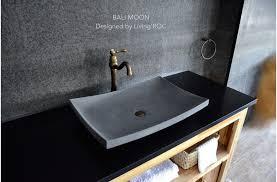 24 gray basalt natural stone bathroom vessel sink