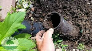 crushed clogged black corrugated downspout pipe water foundation ing drainage from home depot or menards