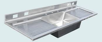 custom made stainless sink with backsplash 2 drainboards