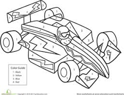Small Picture Color by Number Race Car Worksheet Educationcom