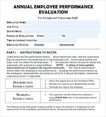 Template For Employee Performance Review Images Of Annual Performance Evaluation Template Employee Self Free