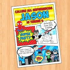 Personalized Superhero Birthday Invitations Customized Superhero Birthday Invitations Superheroes Comic