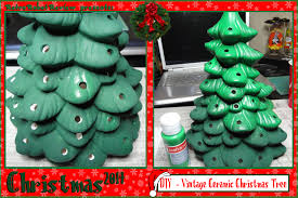 CERAMIC CHRISTMAS TREE GREEN With MULTI COLORED BULBS 2 PC HUGE Ceramic Christmas Tree Vintage