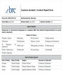Customer Incident Report Form Template Accident Example Nj