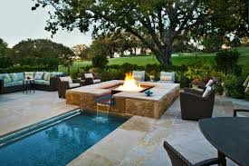 patio with square pool. Inground Fire Pit Mediteranian Pool Teal Diamond Glass Firepit Corner Couch Rattan Chairs Square Patio With
