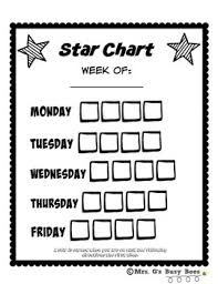 Weekly Star Chart Weekly Behavior Star Chart