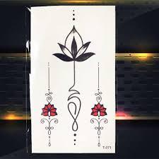 браслет цветок лотоса черный геометрия татуировки наклейки девушки тело палец