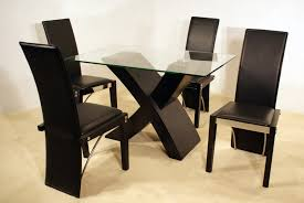 rectangle glass dining room table. Rectangle Glass Top Dining Room Table With X Black Wooden Base Added By Four Chairs On The Floor E
