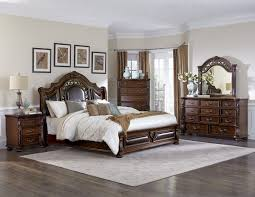 King Sleigh Bed Bedroom Sets Augustine Court 4pcs Classic Brown Cherry King Sleigh Bedroom Set