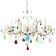 5 light multi coloured gypsy crystal chandelier