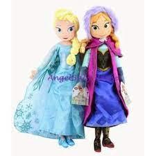 2 Búp Bê Nhồi Bông Phong Cách Công Chúa Elsa Và Anna Đáng Yêu