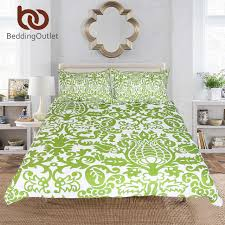 US $27.9 40% OFF|Aliexpress.com : Buy BeddingOutlet Floral Bedding Set Simple Style Duvet Cover With Pillowcase Green and White Bed Set 3 Piece Leaf ...