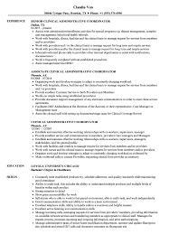 Clinic Administrator Sample Resume Clinical Administrative Coordinator Resume Samples Velvet Jobs 24