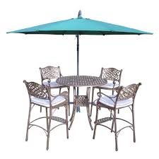 oakland living elite cast aluminum 6 piece round patio bar height dining set with oatmeal