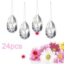 24pcs clear chandelier glass hanging drop pendant crystal prism home decorations