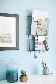 office key holder. Mail Organizer Wall Mount With Key Rack Hooks - Black Mesh Metal Set Of Two Holds File Holders For Office, Kitchen, Entryway Office Holder