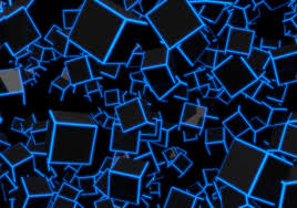 3D BLUE NEON CUBES Woven Self-Adhesive ...