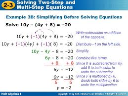 holt algebra 1 2 3 solving two step and multi step equations solve