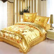 gold bedding red satin dragon phoenix wedding set print modern suits jacquard bedclothes queen king size gold bedding