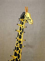 Girls Coat Rack Vintage Folk Art Giraffe Childrens Coat Rack Animal Wooden 62