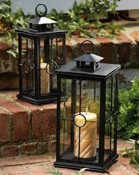 set of 2 black metal candle lanterns