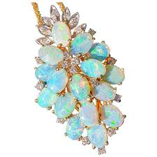 large vintage 14k opal diamonds pendant necklace